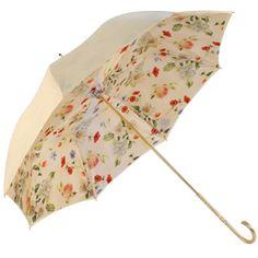 cream umbrella w/ floral liner
