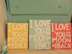 I Love You To The Moon and Back  11x14 Canvas by LindsayLettering, $22.00