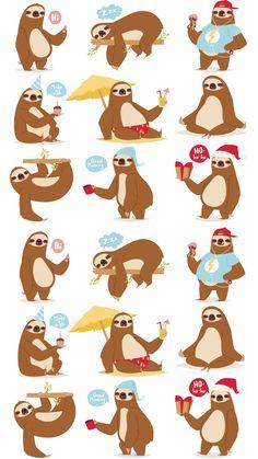 Baby Sloth, Cute Sloth, Sloth Socks, Baby Animals, Cute Animals, Lamas, Elephant Illustration, Tropical Animals, Animal Illustrations