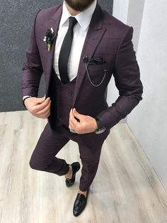 Product: Slim-Fit Vest Suit Color Code: Plaid Claret Red Size: Suit Material: wool, viscone Machine Washable: No Fitting: Slim-fit Package Include: Coat, Vest and Pants Only Indian Men Fashion, Mens Fashion Suits, Mens Suits, Best Suits For Men, Cool Suits, Blue Slim Fit Suit, Purple Suits, Grey Suits, Grey Suit Men