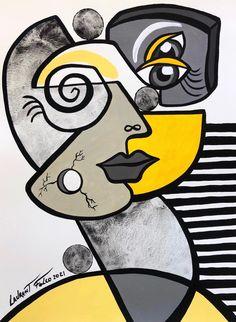 3d Art Drawing, Art Drawings, Cubist Art, Abstract Art, Art And Illustration, Acrylic Painting Canvas, Canvas Art, Pop Art, Picasso Art