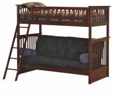 Antique Walnut Columbia Bunk Bed Twin / Full Futon AB55404 · BettCoole  EtagenbettenKinder ...