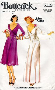 1970s Evening Wrap Effect Dress Designer John by BessieAndMaive, $16.00