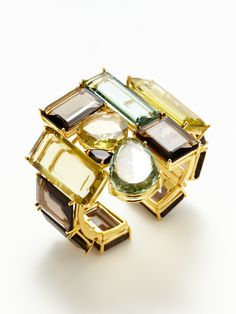 Multi-Shape Topaz, Green Amethyst, & Lemon Quartz Cuff by Bounkit at Gilt