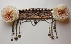 Tribal Fusion Headdress Blush Belly Dance Tribal by theverdantmuse