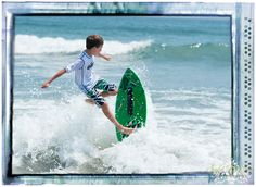 Riding the waves! Skim boarding at it's best!