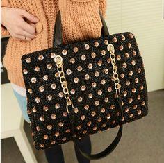 $33.99 USD  [grlhx120060]Unique Shiny Sparking Shoulder bag Handbag  .Unique Shiny style.  2.Size:28*41*11cm.