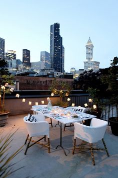 Rooftop dining in the city