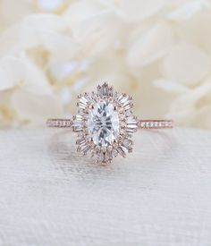 Vintage engagement ring woman rose gold halo diamond moissanite Oval cut Antique wedding Unique Jewelry Anniversary Promise gift for her – Jóias com Diamantes para Engajamento Cool Wedding Rings, Wedding Rings Rose Gold, Wedding Rings Vintage, Wedding Rings For Women, Vintage Engagement Rings, Diamond Engagement Rings, Wedding Unique, Trendy Wedding, Halo Engagement