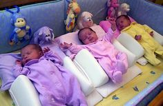 """My 3 used to share a crib but without the fancy """"bumpers"""". #Close&Snuggly"""