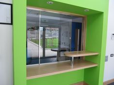 Avon Armour install electrically operated sliding screens for a wide variety of applications. Reception Counter, Office Reception, Slide Screen, School Cafe, Cinema Room, Police Station, Kitchen Cupboards, Avon, Screens