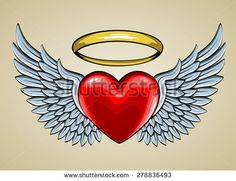 how to draw a heart with wings step 7 draw u003c3 pinterest rh pinterest com images of hearts with wings and halo pictures of broken hearts with wings