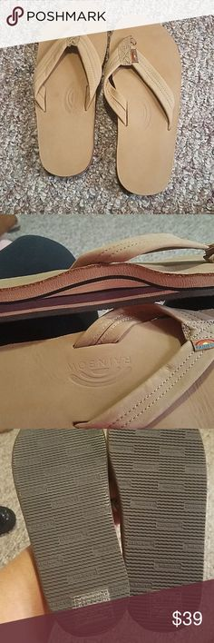 94235d59a79 Shop Women s Rainbow Tan size womens 10 or mens Sandals at a discounted  price at Poshmark. Description  Brand new rainbow double stack flip flops .