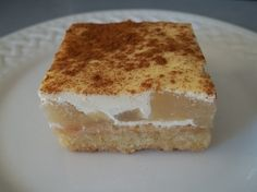 Perfect for afternoon tea - Sour Cream Apple Slice I would try cooking apples for this rather than canned filling. I find the apples in the canned filling hard. Tea Recipes, Apple Recipes, Sweet Recipes, Cake Recipes, Dessert Recipes, Cooking Recipes, Coconut Recipes, Dessert Bars, Pizza Recipes