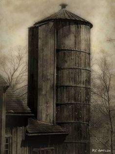 """""""Silo at Sunrise"""" by RC deWinter, Haddam, CT // © 2010 RC deWinter ~ All Rights Reserved ________________________________________________  A grand old wooden silo with attached barn stands tall as a new spring day dawns over the Connecticut countryside. _________________________________________________ Vintage-style photograph shot in... // Imagekind.com -- Buy stunning, museum-quality fine art prints, framed prints, and canvas prints directly from independent working artists and…"""