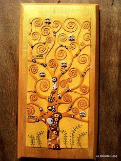 "Quadro ""Albero della Vita"" - Polymer Clay Wall Art ""The Tree of Life"" Inspired by Klimt"