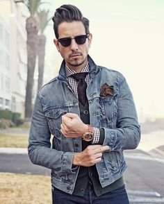 Casual Mondays in denim layers. Sunglasses by @mvmtwatches Shirt by @fabianimenswear Tie by @lvjhaberdasher Cardigan by @gap Denim jacket by @levis_southafrica : @WhatMyGirlfriendShoots ——————————————– For sartorial secrets and all things dapper...