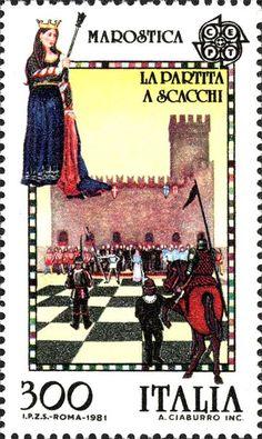 Emesso il 4 maggio 1981 300 L. - Partita a scacchi di Marostica