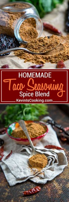 For my Homemade Taco Seasoning I keep things uncomplicated, but packed with a true flavor punch. Pantry staple herbs and spices are used like cumin, oregano, chili powder, but I find Mexican oregano is best, ancho chili powder because it's just that, not a mix of chilies and little salt. #taco #spiceblend #tacoseasoning via @keviniscooking