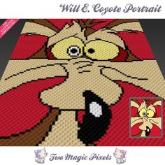 Will E Coyote Portrait crochet blanket | TwoMagicPixels
