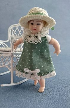 """Wearable dollhouse dress and hat for 1/12 Heidi Ott 2.75"""" toddler doll. Price contains shipping. by TuulasBoutique on Etsy"""