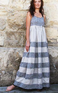 Linen Maxi Tank Dress Ladies Long Boho Pinafore Womens by Sanabis