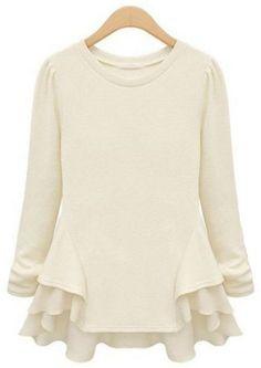 Beige Long Sleeve Chiffon Sweater-Tee