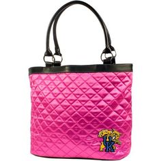 "NCAA Kentucky-Wildcats, University of Pink Quilted Tote by Little Earth. Save 47 Off!. $20.49. Littlearth's Quilted Collection is the perfect bag for the astute Sports Fan.  This Quilted Tote measures 16"" Length x 5.5"" Width x 12"" Height and has an 8"" Handle Drop.  Trimmed in faux leather this bag features rich satin-like quilting sure to catch the eye of passersby.  Displays embroidered applique of favorite team logo in bottom front right of bag.  Magnetic snap closure at top of bag k..."