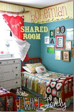 daughter's bedroom used to be this color...awesome kids shared bohemian woodland bedroom