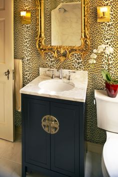 eclectic powder room with leopard wallpaper and Chinoiserie New Home Decor Ideas Powder Room Wallpaper, Bathroom Wallpaper, Eclectic Bathroom, Small Bathroom, Bathroom Ideas, Black Bathrooms, Bathroom Stuff, Bathroom Inspo, Bathroom Interior