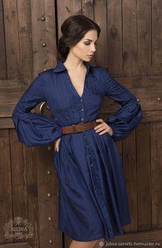 """Silken Dress   Платье из шелковой тафты """"Мелисента в синем"""" – купить в интернет-магазине на Ярмарке Мастеров с доставкой"""