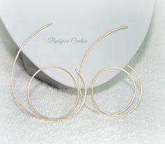 COLLECTION NAYA : Créoles spirales laiton plaqué or, inspiration Cristina Cordula : Boucles d'oreille par popibijouxcreation