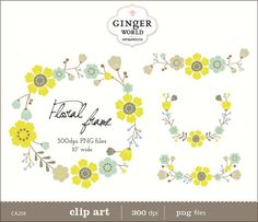 Laurels clipart Wreaths Floral clip art Floral por GingerWorld