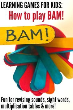 Learning Games for Kids: How to Play BAM! for sight words, phonics, multiplication tables and more! Reading Games For Kindergarten, Learning To Read Games, Phonics Games For Kids, Word Games For Kids, Literacy Games, Classroom Games, Phonics Activities, Games For Toddlers, Sight Word Activities