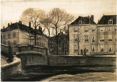 Vincent van Gogh: Bridge and Houses on the Corner of Herengracht-Prinsessegracht, The Hague. Drawing - Pencil, pen and brush in brown (originally black) ink, opaque white watercolour, brown-grey wash, on laid paper. The Hague: March , 1882 Van Gogh Museum: Amsterdam, The Netherlands.