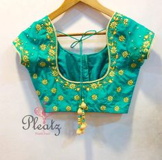 Gorgeous Heavy Work Silk Saree Blouses From Pleatz Blouse Back Neck Designs, Cutwork Blouse Designs, Kids Blouse Designs, Pattu Saree Blouse Designs, Hand Work Blouse Design, Simple Blouse Designs, Stylish Blouse Design, Bridal Blouse Designs, Designer Blouse Patterns