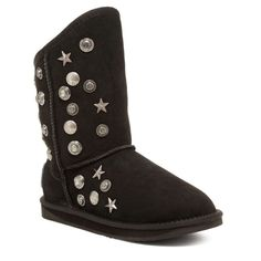 """Australia Luxe Collective studded black boots New in box ⭐️No ugg. Brand Australia Luxe Collective. Best quality Exposed metal medallion studs protrude the shaft of a genuine sheepskin constructed short boot with topstitched panels  True to size.Whole sizes NOT available, half sizes should size down as the sheepskin is a natural product, it will stretch and form to one's foot. - Round toe - Pull on - Approx. 7.5"""" shaft height, 11"""" opening circumference - Imported Materials Genuine sheepskin…"""