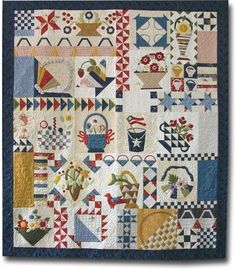 Piece and Plenty quilt by Moda....do in red, white, blue with green and a touch of yellow - Minnick & Simpson style!