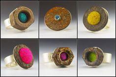 Norsola Johnson rust & felt rings