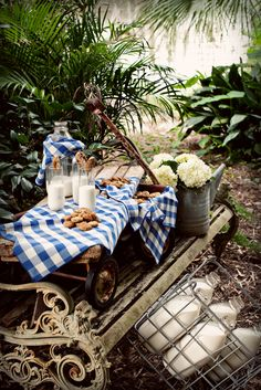 Milk and cookies served in the back yard!