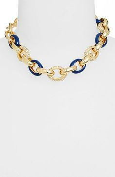 Link love! Gold and navy nautical necklace.