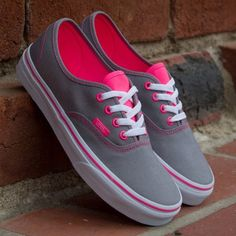 I think I may be the only one on the planet who doesn't own a single pair if vans. Even my 6 yr old brother has blue vans! I've been saying I'd buy myself a pair of gray (with pink insides? Even better) vans forever. Cute Vans, Cute Shoes, Me Too Shoes, Awesome Shoes, Grey Vans, Pink Vans, Neon Vans, Women's Vans, Grey Converse