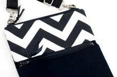 Cross Body Sling Bag in Black and White Chevron. Fits the iPad Mini Nook HD by XSBaggageandCo, $39.00