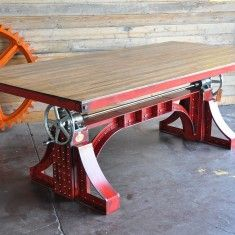 Bronx table with reclaimed boxcar oak top