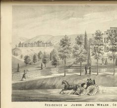 Ridges behind the residence of Judge John Welch, 1875. :: Ohio University Archives