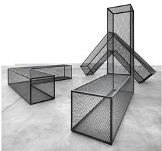 Steel Mesh Ls by Robert Morris is part of Exhibition design - MoCoLoco is a web magazine dedicated to everything related to modern contemporary design and architecture Robert Morris, Giuseppe Penone, Nathalie Du Pasquier, 3d Modelle, Table Design, Steel Mesh, Steel Furniture, White Furniture, Design Furniture