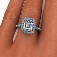 Forever Brilliant Moissanite and Diamond Halo Engagement Ring