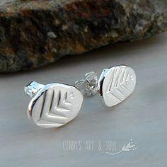 Tiny Tree Earrings. Super shiny fine silver nugget earrings. Cindy's Art & Soul Jewelry