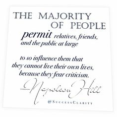"""""""""""Huge numbers of people make mistakes in marriage, stand by the bargain, and go through life miserable and unhappy, because they fear criticism which may follow if they correct the mistake. (Anyone who has submitted to this form of fear knows the irreparable damage it does, by destroying ambition, self-reliance, and the desire to achieve.)⠀ ⠀ Millions of people neglect to acquire belated educations, after having left school, because they fear criticism.⠀ ⠀ Countless numbers of men and…"""