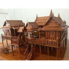 Traditional Thai Teak House Model
